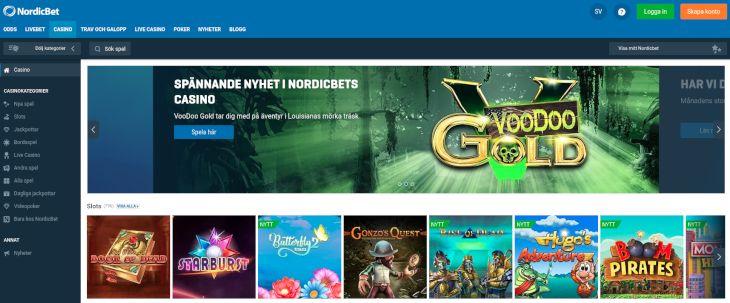 NordicBet casino page